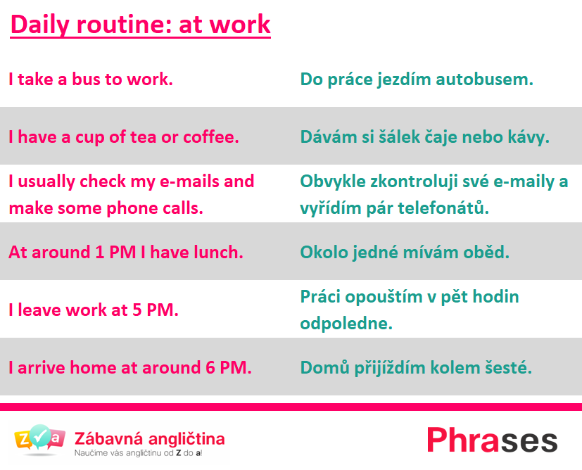daily routine at work